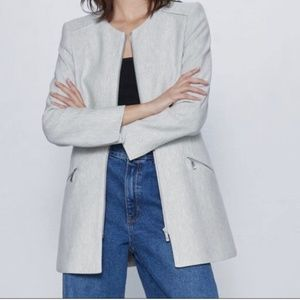 NWT Zara Basic | Grey Frock Coat with Zippers